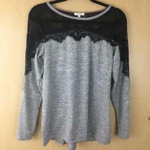 EUC Maurices Black Lace Shoulder Grey Sweater L